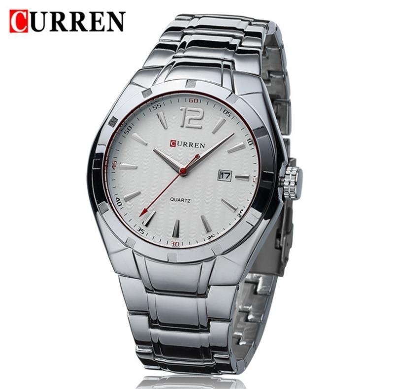 CURREN 8103 Volles Zifferblatt aus Edelstahl Kalender Armbanduhren Herren Quarz Business Armbanduhren Armbanduhren brachliegende prägnante Zifferblattuhren