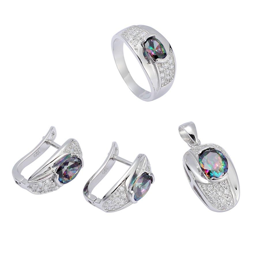 925 sterling silver Promoção conjunto de coração (anel / brinco / pingente) Nobre Generoso S-3719set ssz # 6 7 8 9 Rainbow Fogo Mystic Cubic Zirconia Punk