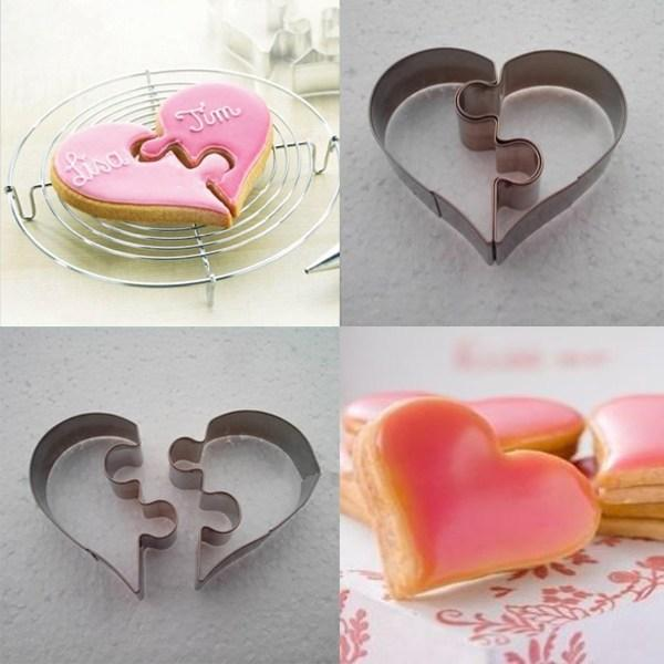 2PCS Heart set Cookie Cutter mold Stainless Steel Cake Decorating Tool Kitchen Baking Moulds sandwich Puzzle dough pastry BGM14