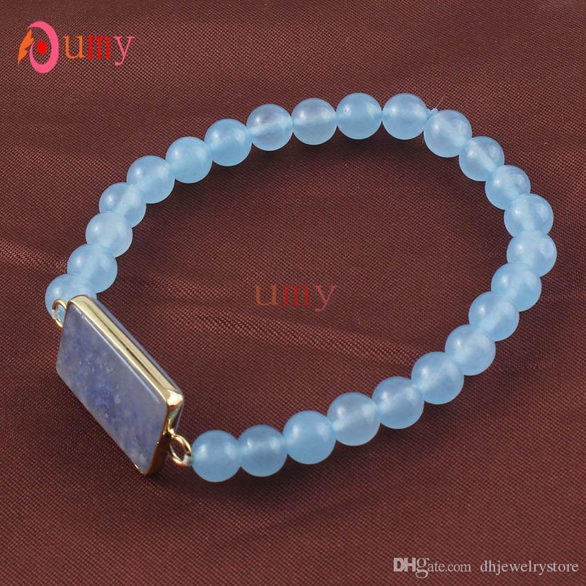 Atacado 10 Pcs Banhado A Ouro 6mm Rodada Beads Conectar Natural Druzy Azul Quartz Pulseira Elástica Para As Mulheres