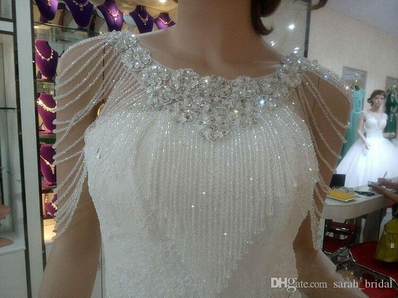 Luxury Crystal Beadings Jewelry Wedding Bridal Wraps 2020 Custom Made Flower Lace Appliques Beads Wedding Shawl Jacket Bolero Jackets Cheap