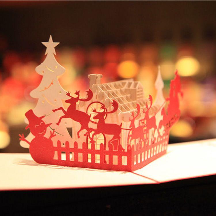 Frohe Weihnachten Grüße.Großhandel Neue Handgemachte Frohe Weihnachten Grüße Karten Kirigami 3d Pop Up Weihnachtsbaum Schneemänner Karte Großhandel Heiß Von