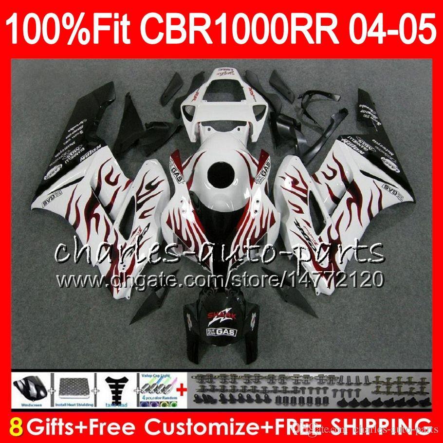 Cuerpo de inyección Para HONDA CBR 1000RR 04 05 llamas rojas Carrocería CBR 1000 RR 79HM23 CBR1000RR 04 05 CBR1000 RR 2004 2005 Kit de carenado 100% en forma