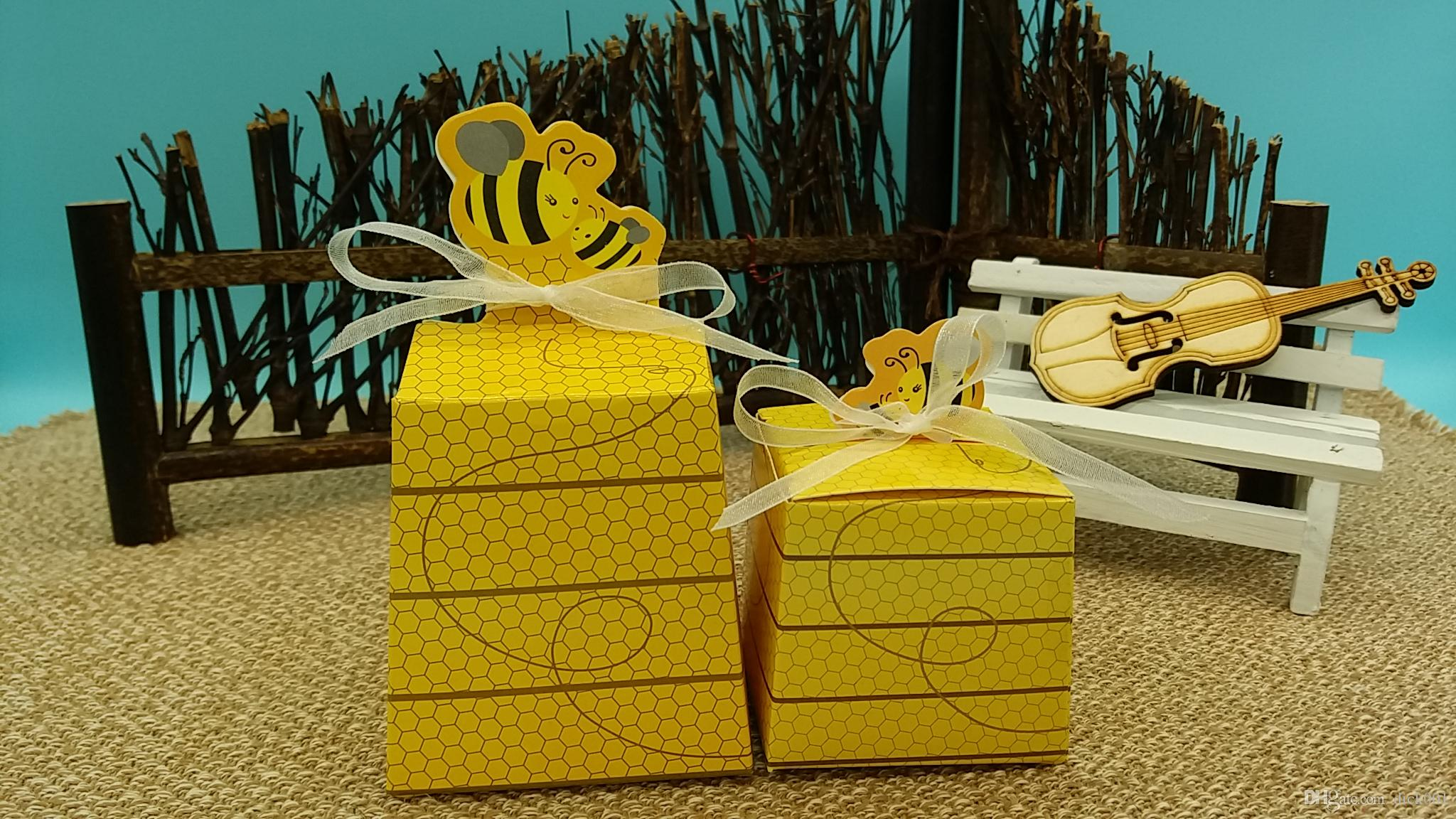 2016 New 50pcs Lots Sweet Honeybee Candy Box Baby Shower Gift Birthday Party Decorations Kids Favor Supplies 2018 From Dick001