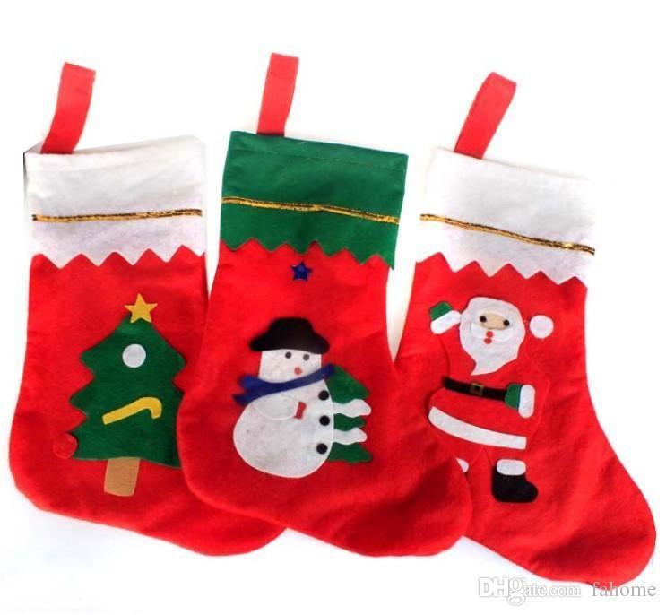 Venta al por mayor Navidad Colgando Medias Árbol Bordado Santa Ornamento Muñeco de nieve Navidad Festivo Stocking Decoración Xmas Envío gratis