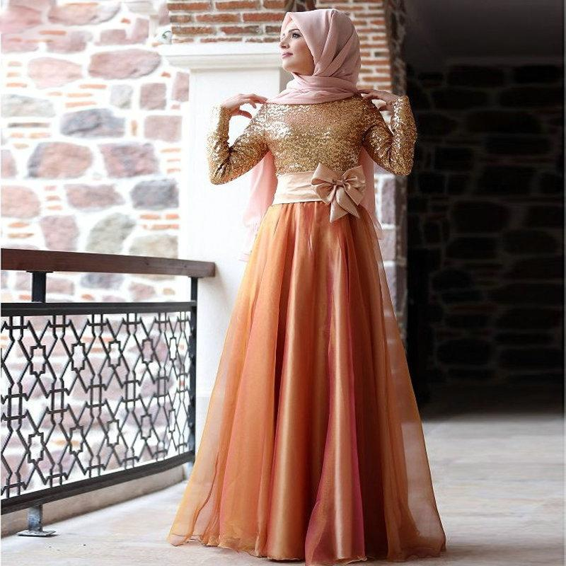 Modest Muslim Long Sleeves Evening Dresses Gold Sequins Plus Size Hijab Women Formal Prom Gowns Bowknot Trimmed Arabic Moroccan Kaftan