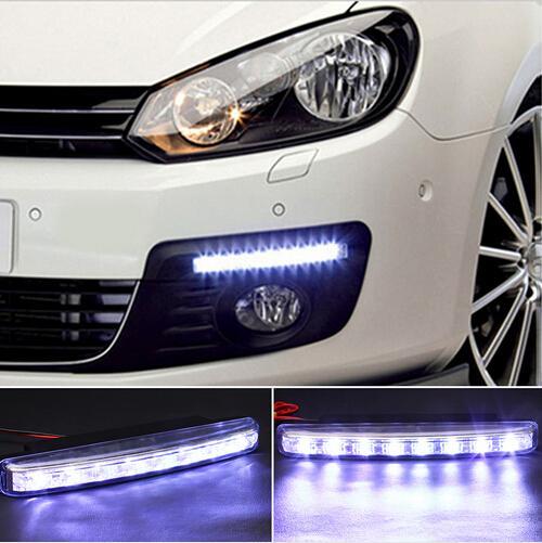 2pcs 8 LED Universal Car Light DRL Daytime Running Head Lamp frete grátis Super Branco