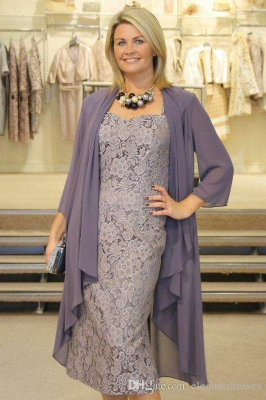 2019 lace Tea Length Fall New Gray Plus Size Mother Of The Bride Dresses With Jackets