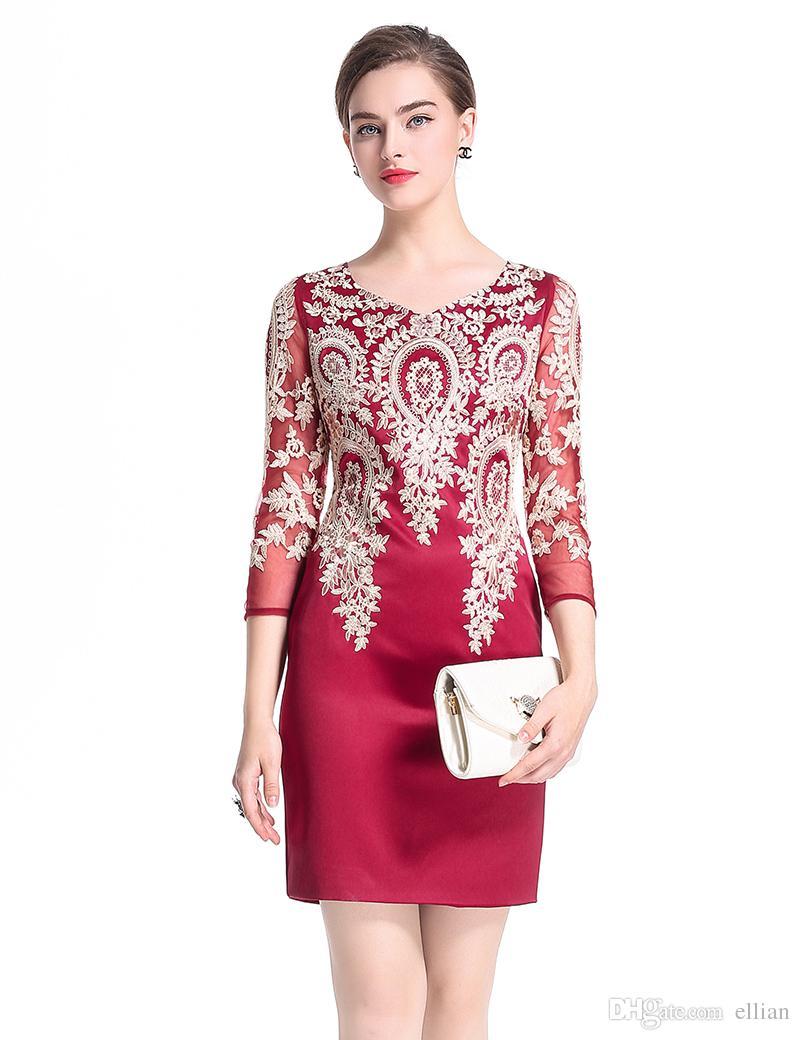 Seksi Dantel Patchwork Nakış Kadınlar Kılıf Elbise 3/4 Kollu Elbiseler 0917102-B