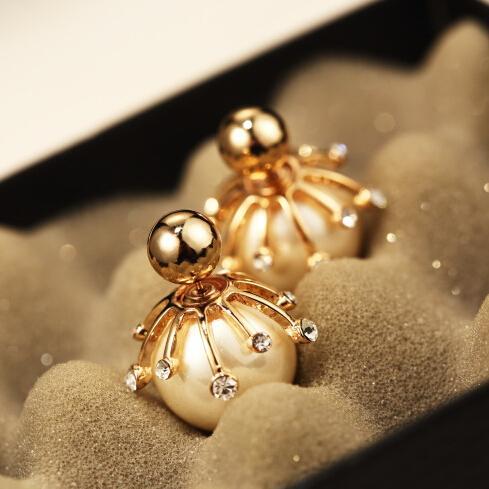 Duplo Pérola Brincos Crystal Pearl dupla face brincos de Declaração Mulheres Moda brincos Jóias boucle d'oreille brinco grande
