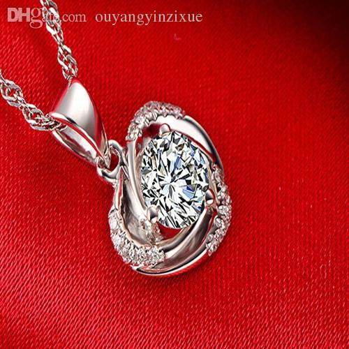 Fashion White Gold Plated Love Heart Pendant Necklace Purple Womens Chain 17.6 Classic