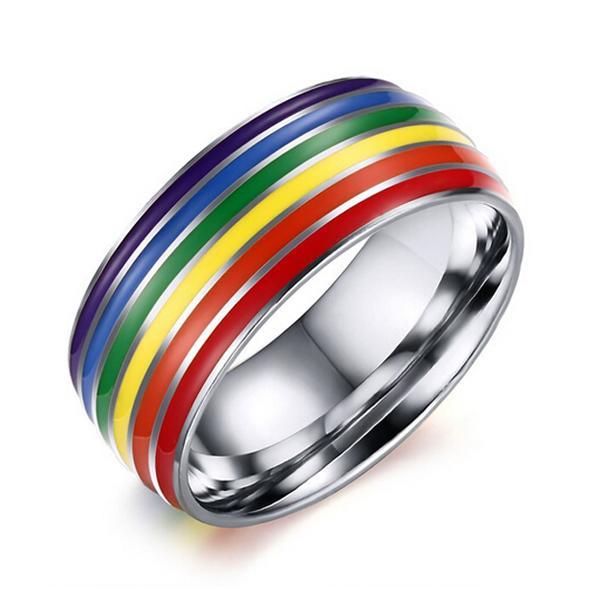 Gays de Acero de Titanio Lesbianas LGBT Orgullo Anillo del Arco Iris Banda de Compromiso de Boda tama/ño 8