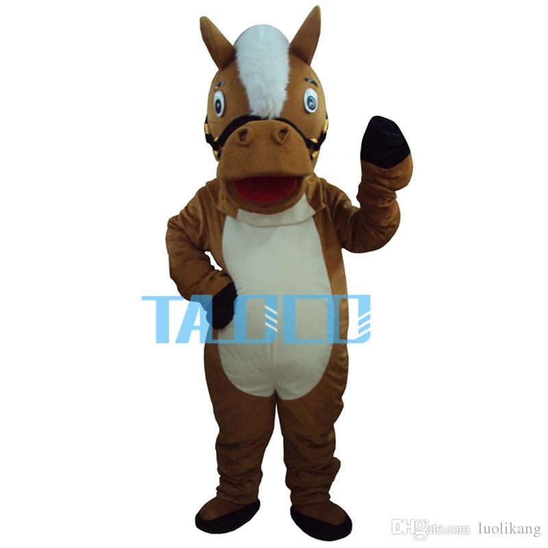 Nouveau Costume De Mascotte De Cheval Marron Professionnel Taille Adulte Déguisement