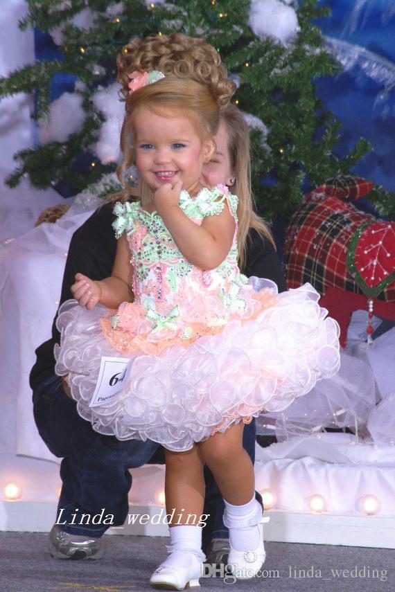 Bebek Miss America Kız Pageant Elbise İyi Kalite Organze Parti Cupcake Çiçek Kız Pretty Elbise Küçük Çocuk Için