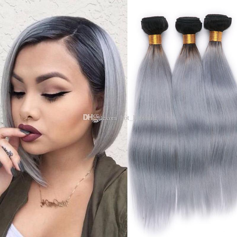 Two Tone 1B Grey Ombre Virgin Hair Weave Bundles 3Pcs Lot Silver Grey Peruvian Virgin Hair Ombre Straight Human Hair Extensions