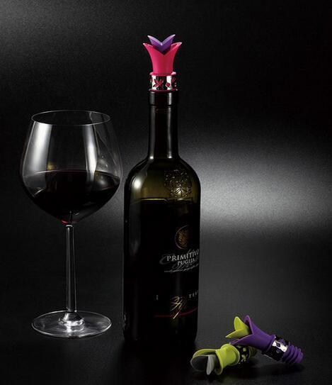 New 도착 릴리 와인 병 마개 실리콘 승인 식품 학년 내구성 와인 pourer 바 도구 색상