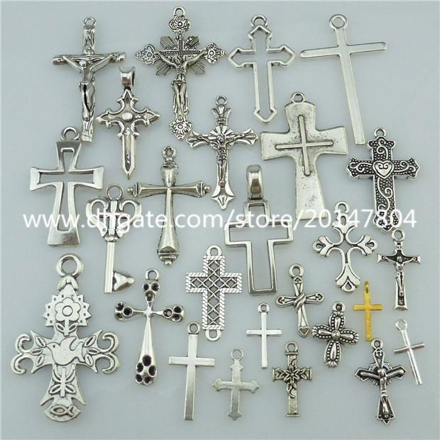 25PCS Mix Alloy Antique Silver Tone Faith Religious Cross Dangle Pendant Jewelry