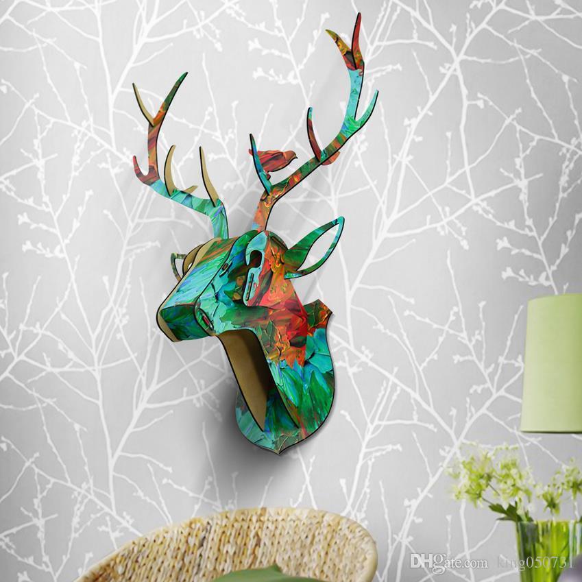 DIY Animal Deer Head de madera colgante de pared para la sala de estar dormitorios decoración de la pared de madera artesanía de decoración MDF colgante decoraciones 61x46x29 cm