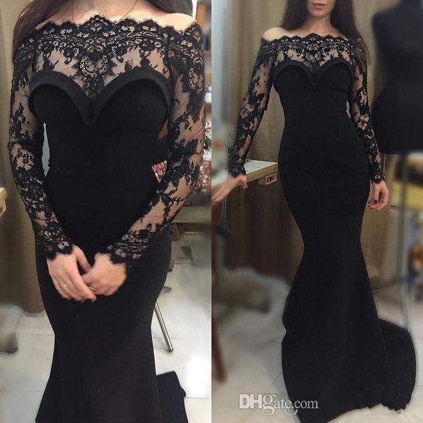 Elegante Schwarze Prom Kleider Weg Von Der Schulter Spitze Sheer Long Sleeves Mermaid Formale Frauen Party Kleider 2016 Sexy Abendkleider