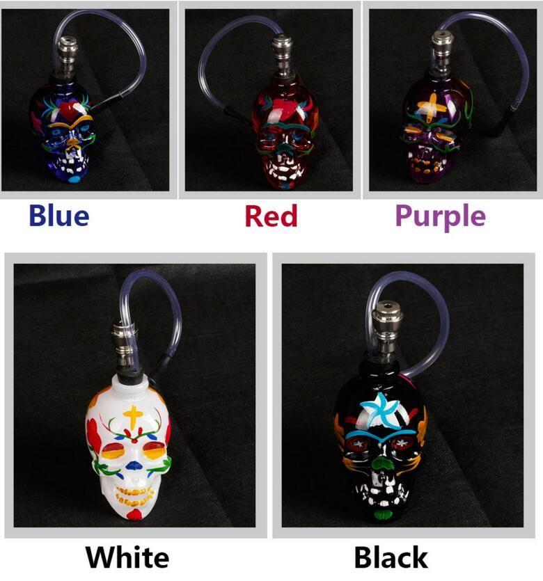 Skull Bong Glass Glass Water Pipe Hookah con manguera Metal Tazón 7 Colores Filtro Soporte de Cigarrillo Cachimachas SHISHA SILLAS DE ACEITE