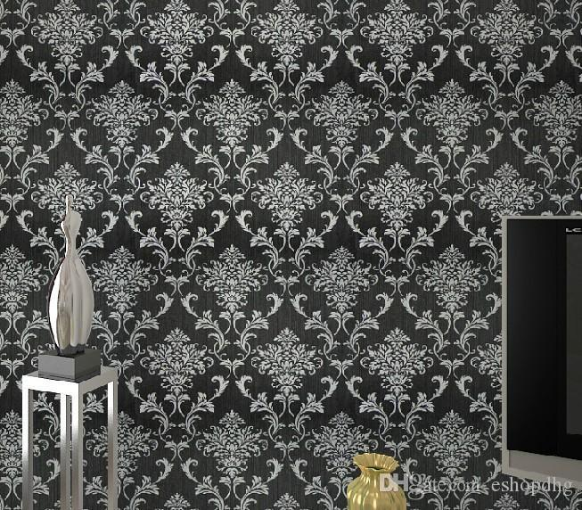 Pvc Glitter Black Silver Damask Wallpaper Background Wall Bedroom