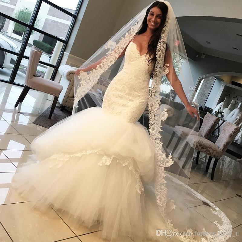 Fit And Flare Wedding Dress Trumpet Lace Top Puffy Tiered Tulle Skirt Bridal Gowns Sweetheart Spaghetti Straps Backless Brides Wear Black Wedding