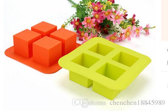 4 trous squre bac à glaçons moule à gâteaux moule de savon en silicone flexible pour savon à la main bougie bonbons boulangerie moules de cuisson outils de cuisine moules à glace