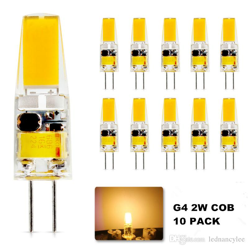 10X G4 2W LED لمبة، G4 COB LED الإضاءة، 20 وات G4 ضوء الهالوجين لمبة استبدال، 210LM، 2700-3000K دافئ الأبيض، 12V AC / DC