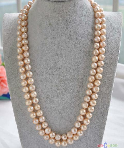 tondo a sud del mare d'oro collana di perle rosa, oro 14k 38inch all'ingrosso 9-10mm