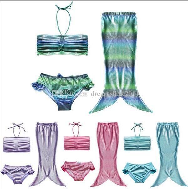 2019 15 Different Styles Girls Kids Mermaid Tail Swimming Bikini Set