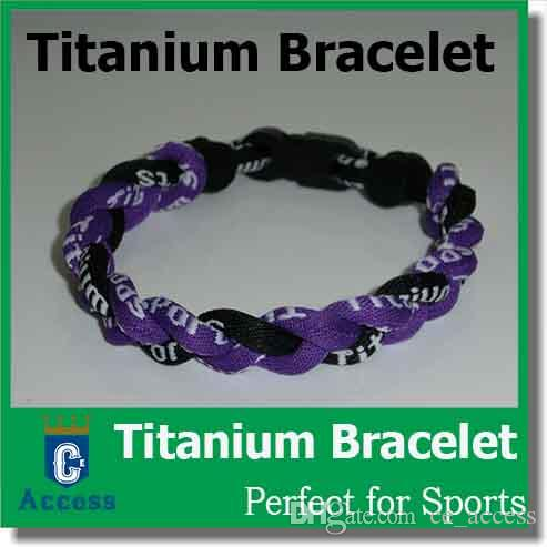via DHL tornade Germanium titane 3 cordes tornade tressées en titane bracelets 18- 22cm