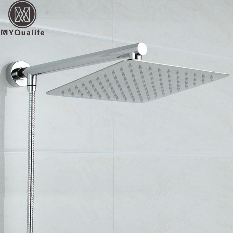 Chrome Shower Head Stainless Steel 8 Inch  Ultra thin with Wall Mount Shower Arm