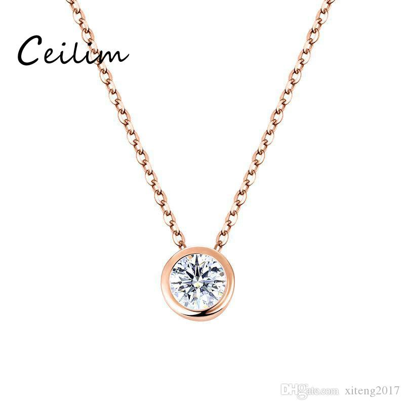 Newest korean sweet simple zircon charms pendant necklaces for women accessories high quality plating alloy necklace fit girlfriend present