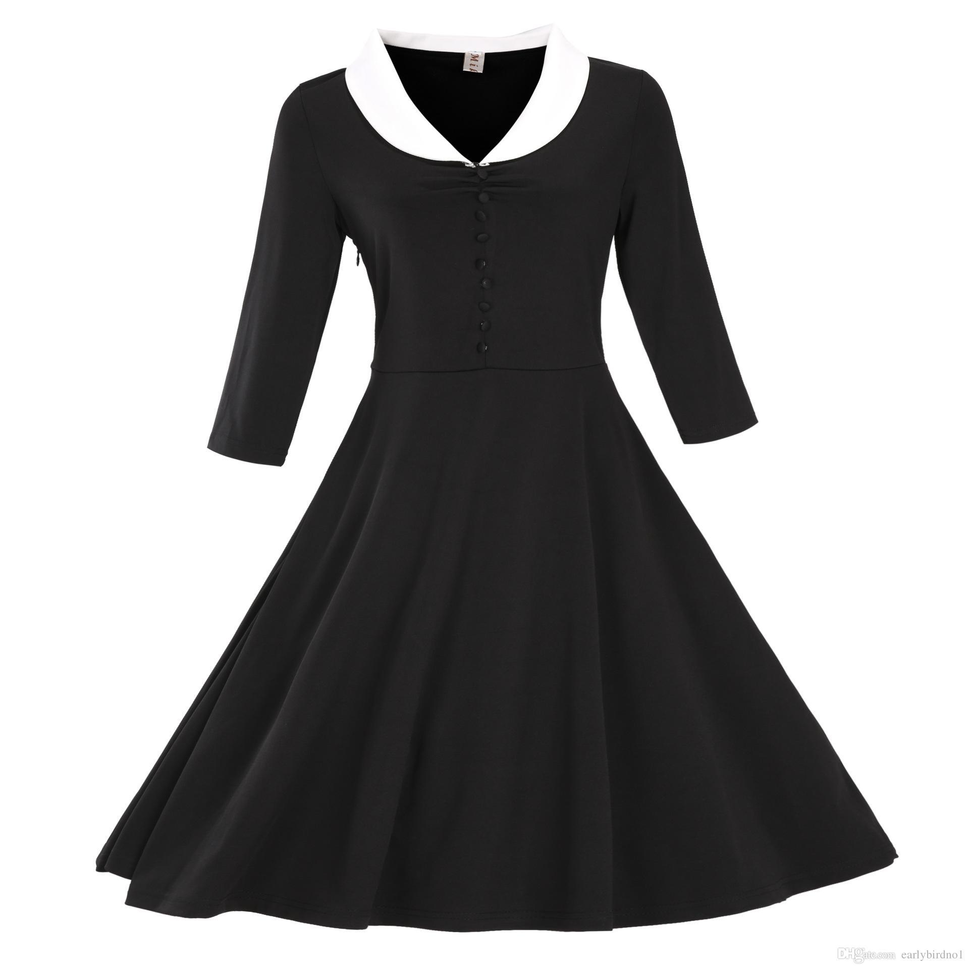 Großhandel New Vintage Schwarz Long Sleeves Casual Kleider Herbst Winter S  17XL Günstige Mode Robe Rockabilly Kleider Freies Verschiffen MC17 Von