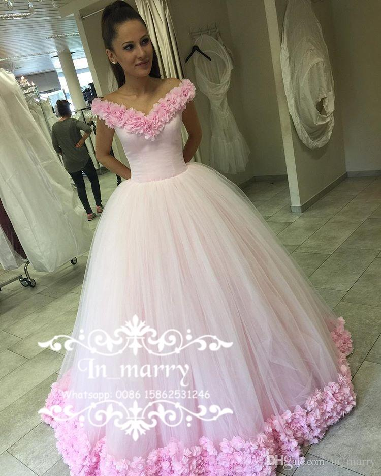 Luxury Russian Arabic Pink Flowers Prom Dresses 2017 Ball Gown Off ...