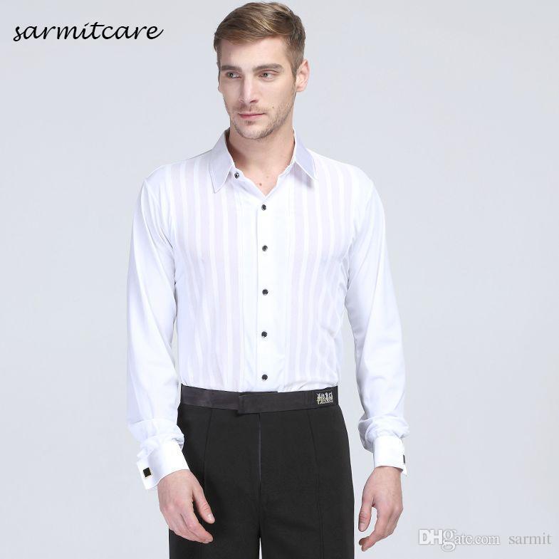 Latin Ballroom Dane Shirts for Men Boys Male Latin Dance Suit Samba Dance Costumes Tango Samba Dance Clothes D0090 White
