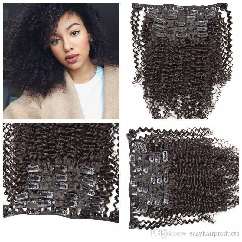 Venda quente! 7 pcs Fácil Clipe na Extensão Do Cabelo Natural preto Longo Encaracolado / Ondulado cabelo 120g 12-26 polegada G-FÁCIL