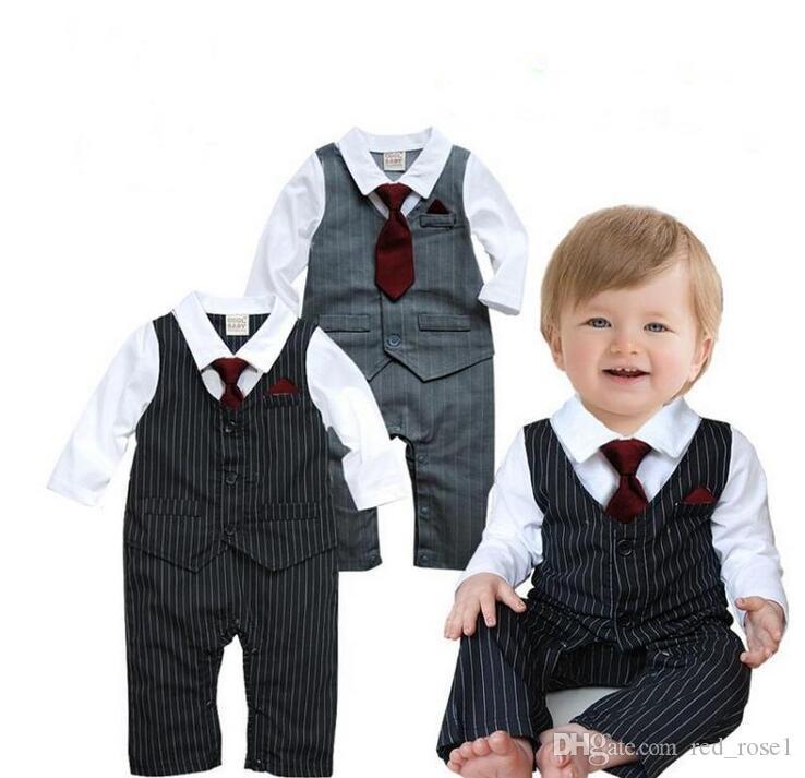 2017 printemps automne bébé garçon noire cravate rouge à manches longues garçons garçons vêtements combinaisons vêtements bébé