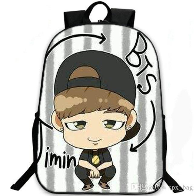 Jimin ظهره Bts بارك جي مين daypack Bangtan بنين المدرسية الحقائب المدرسية الكشفية حقيبة الظهر حقيبة مدرسية الرياضة في الهواء الطلق حزمة اليوم