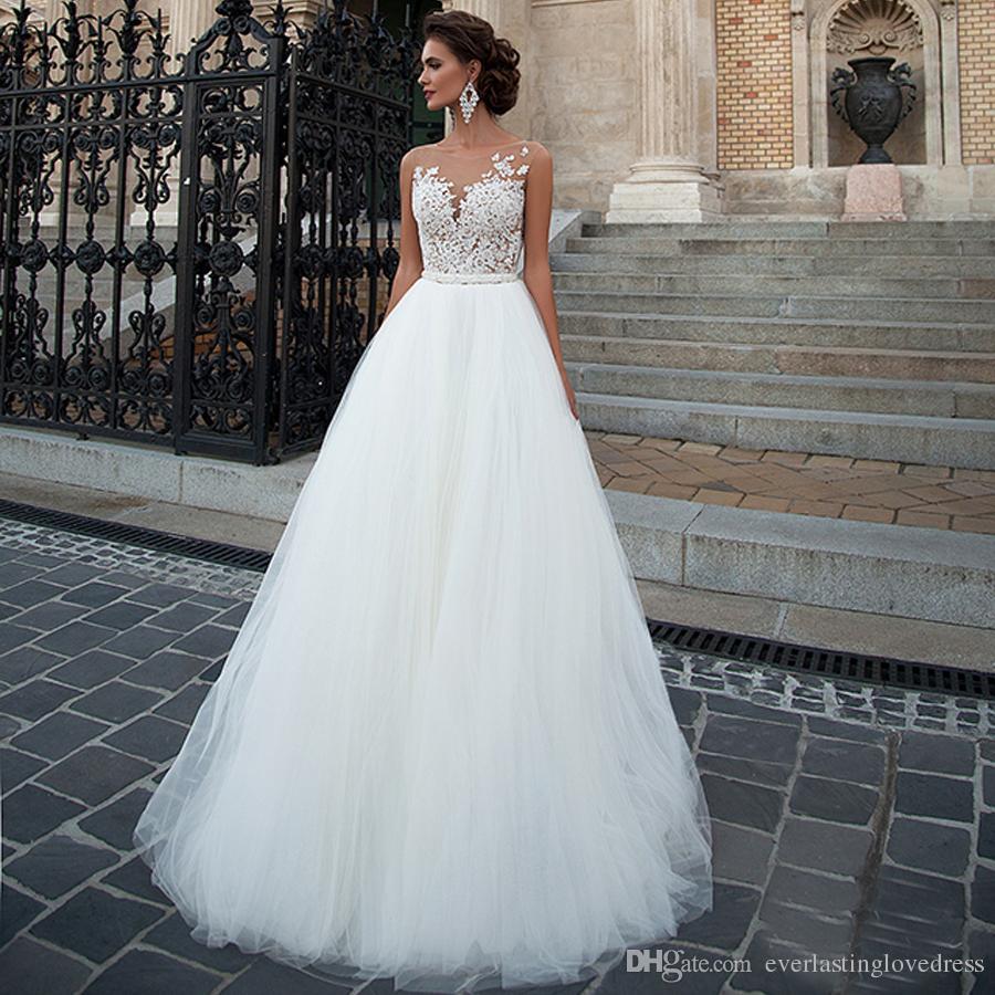 Aplique A-Line Encaje y Color Desnudo Dentro de una línea Vestido de novia Elegante Tul Beading Cinturón Vestido nupcial Vestido de Noiva