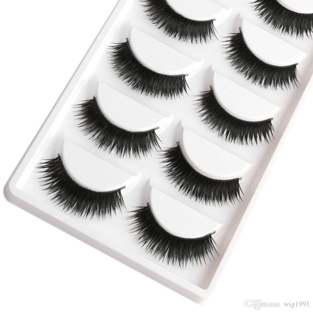 Falso EyeLashes 1 Caixa 5 Pares Grosso Preto Cílios Postiços Dicas de Maquiagem Natural Smoky Maquiagem Longa Falsa Eye Lashes
