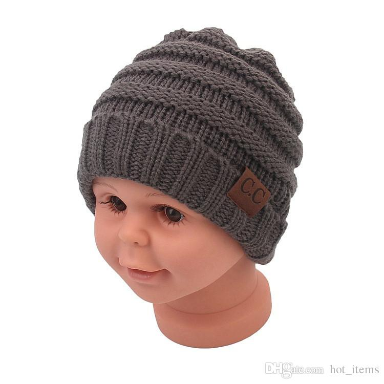 Online Cheap Kids Cc Trendy Knitted Hat Cc Crochet Beanie Label Hats ...