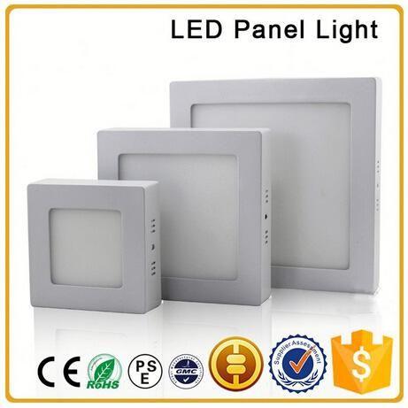 LED panneau lumineux monté sur la surface 6W 12W 18W AC85-265V LED SMD 2835 squate côté spot avec de l'aluminium et de la plaque de guidage de lumière acrylique
