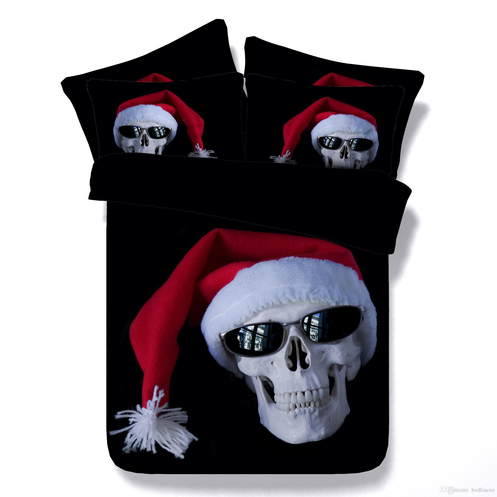 Hot Halloween Christmas Hat Black Skull Pumpkin 3D Skull Printed Bedding Sets Twin Full Queen King Size Duvet Covers Pillow Shams Comforter