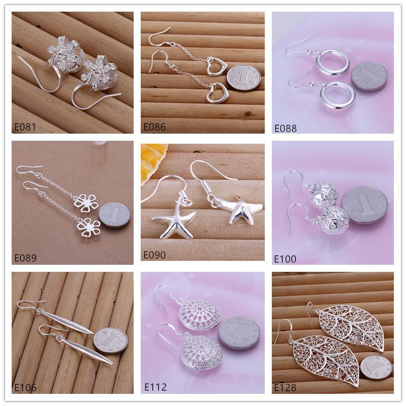 Fashion Sterling Silver Dangle Chandelier Pendientes Venta directa de fábrica 9 pares de estilo Diferente 925 Plata Pendiente GTE20