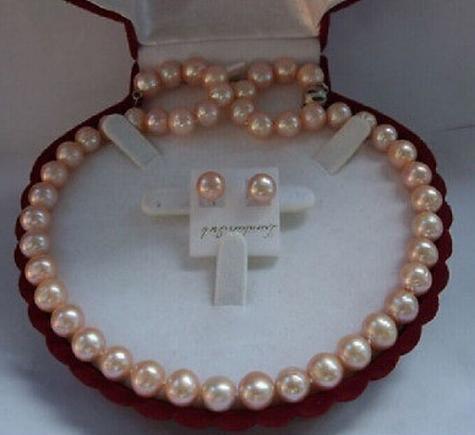 Klassische Südsee-Runde 10-11mm Gold-Rosa-Perlenkette, 18 Zoll, freier Ohrring