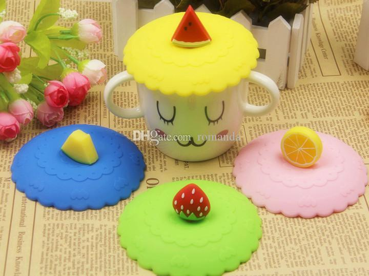 DHL Shipping Free Lovely Fruit Shape Watertight Silicone Cup Lid Cover Mug Cap Block dust Leakproof Lid (Mix fruits sets is ok )