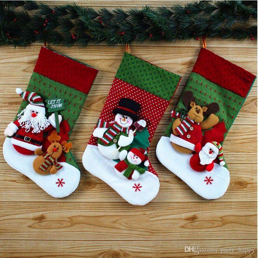 Embroidered Christmas Stockings.2019 Personalised Embroidered Christmas Stocking Gift Santa Snowman Reindeer Ivory Santa Socks Womens Christmas Socks Santa Gift Socks From