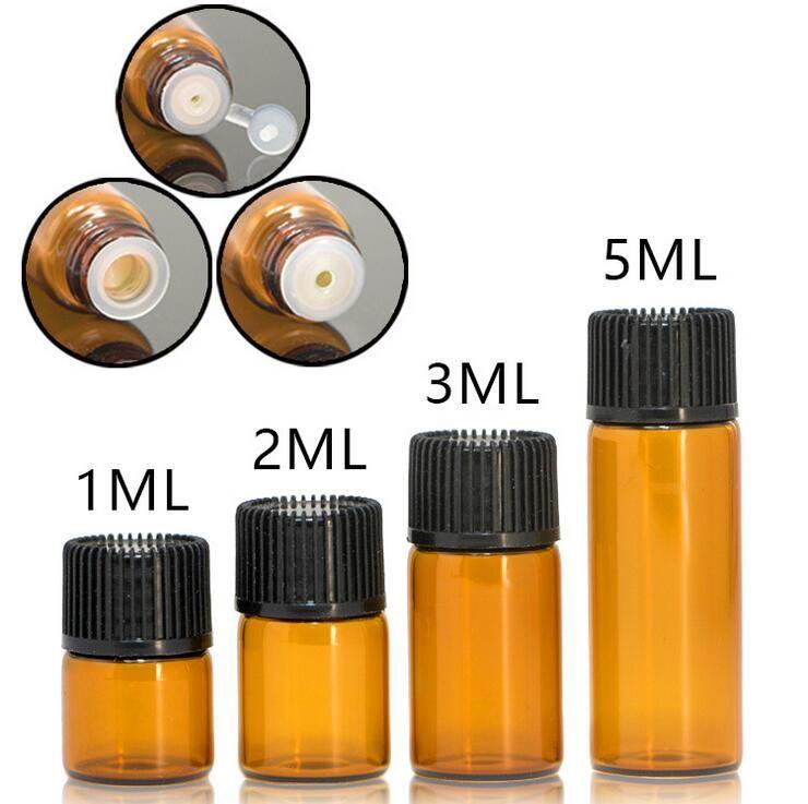1 ml 2 ml 3 ml 5 ml Ambra contagocce Mini bottiglia di vetro Olio essenziale Espositore Fiala Profumo di siero piccolo Contenitore per campioni marrone