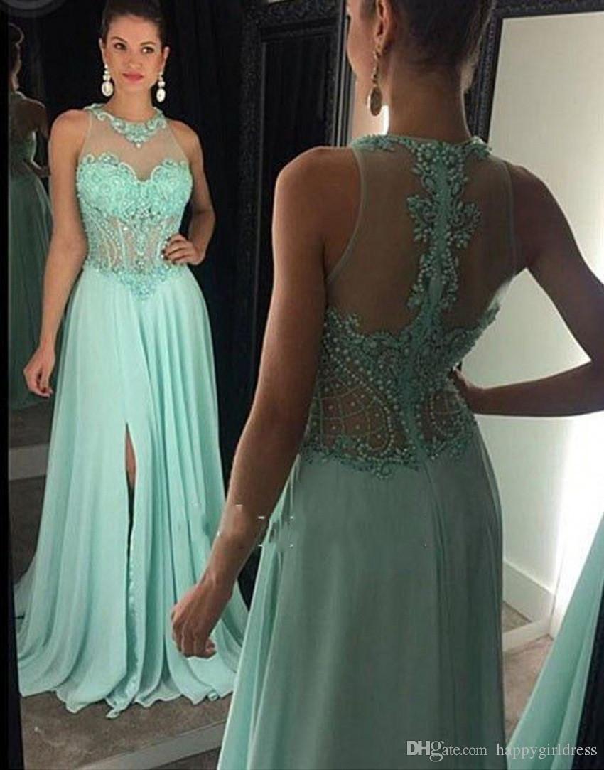 Großhandel Trendy Mint Green Prom Kleider 12 Neue Ankunft Perlen Spitze  Appliques Abendkleid A Line Front Schlitz Robe De Soiree Party Kleid Von